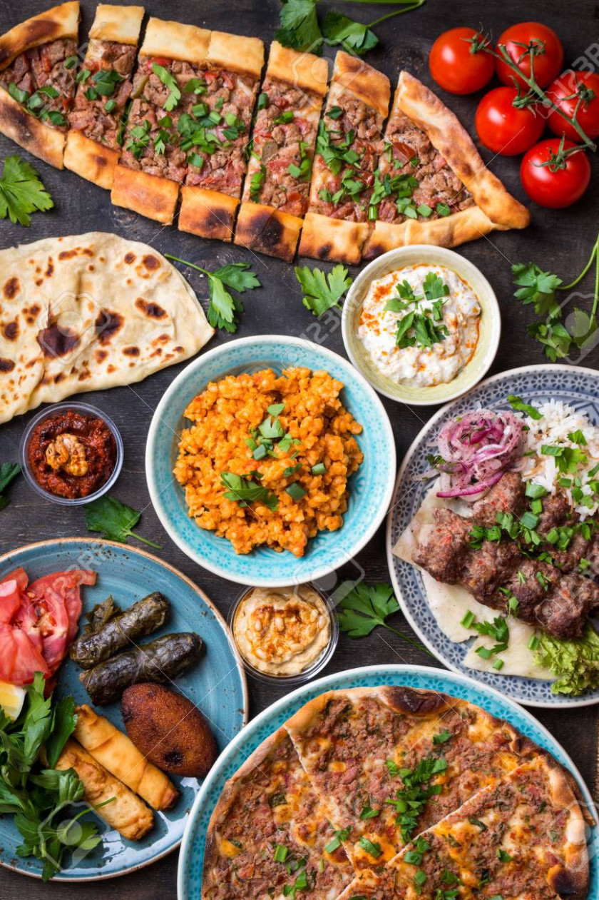 Traditional assorted turkish dishes. Turkish pizza, meat kebab,.