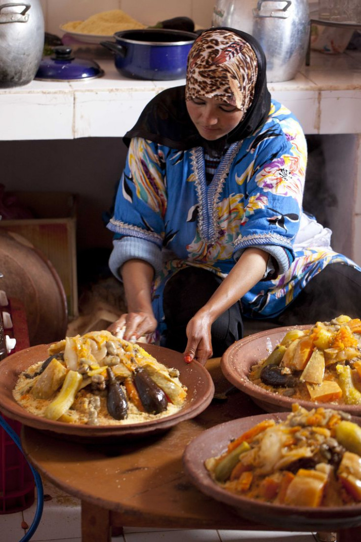Traditional couscous preparation is an elaborated process ..
