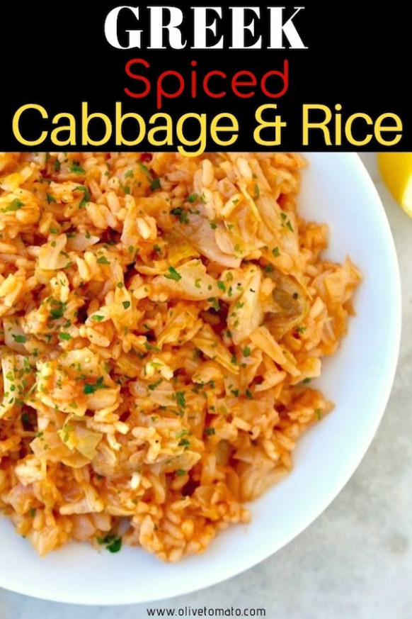 Traditional One Pot Greek Cabbage and Rice #vegan #cabbage ..