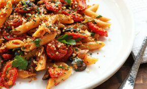 Triple Garlic Pasta With Oven Dried Tomatoes, Olives, And ..