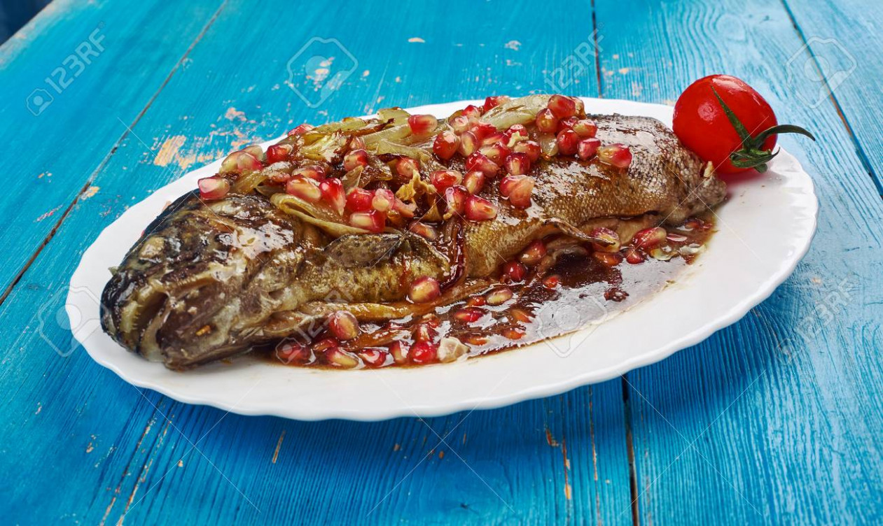 Trout with Pomegranate Sauce, Georgian Recipes - georgian food recipes