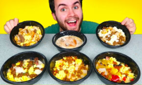 TRYING JIMMY DEAN FROZEN BREAKFAST MEALS! - Eggs, Bacon, Biscuits & Gravy  Bowls, & MORE Taste Test!