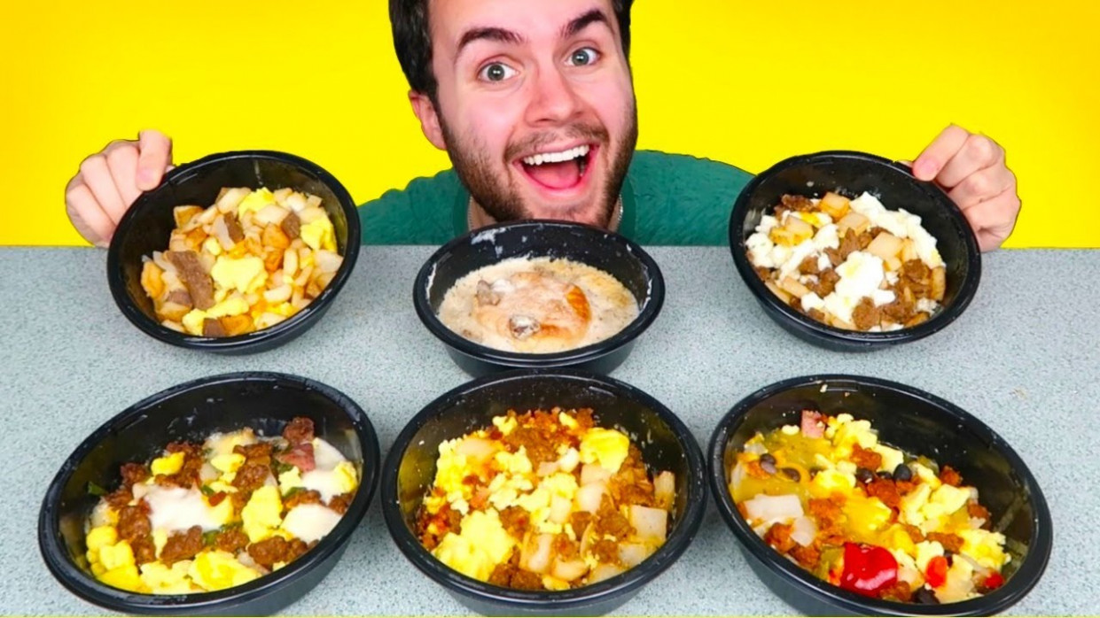 TRYING JIMMY DEAN FROZEN BREAKFAST MEALS! - Eggs, Bacon, Biscuits & Gravy  Bowls, & MORE Taste Test! - jimmy dean sausage recipes dinner