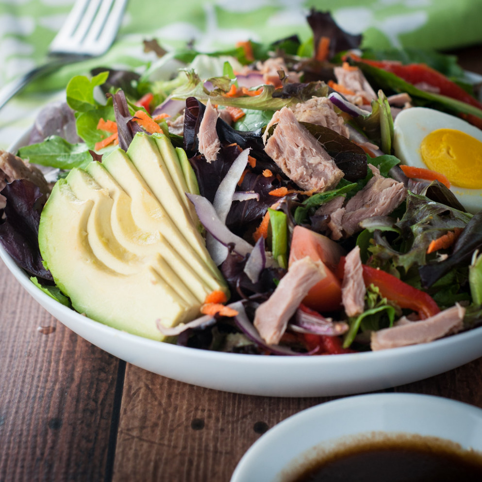 Tuna, avocado and spring mix salad - healthy recipes salads
