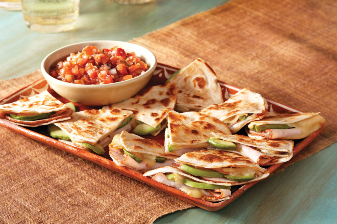Turkey and avocado quesadillas. Recipe with and without ..