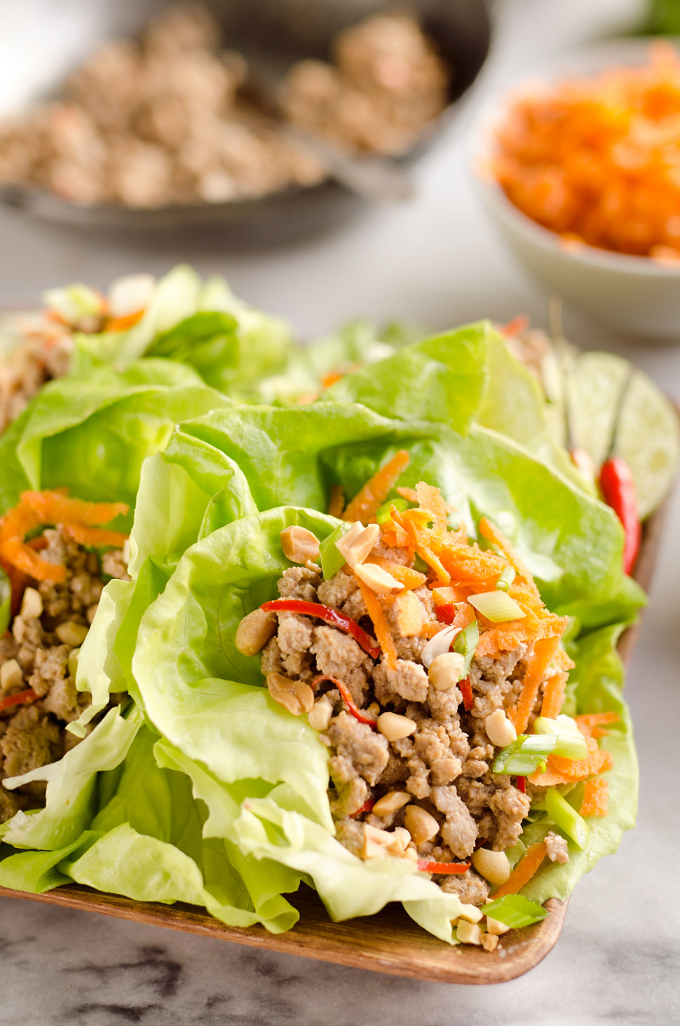 Turkey Thai Peanut Lettuce Wraps - healthy recipes ground turkey