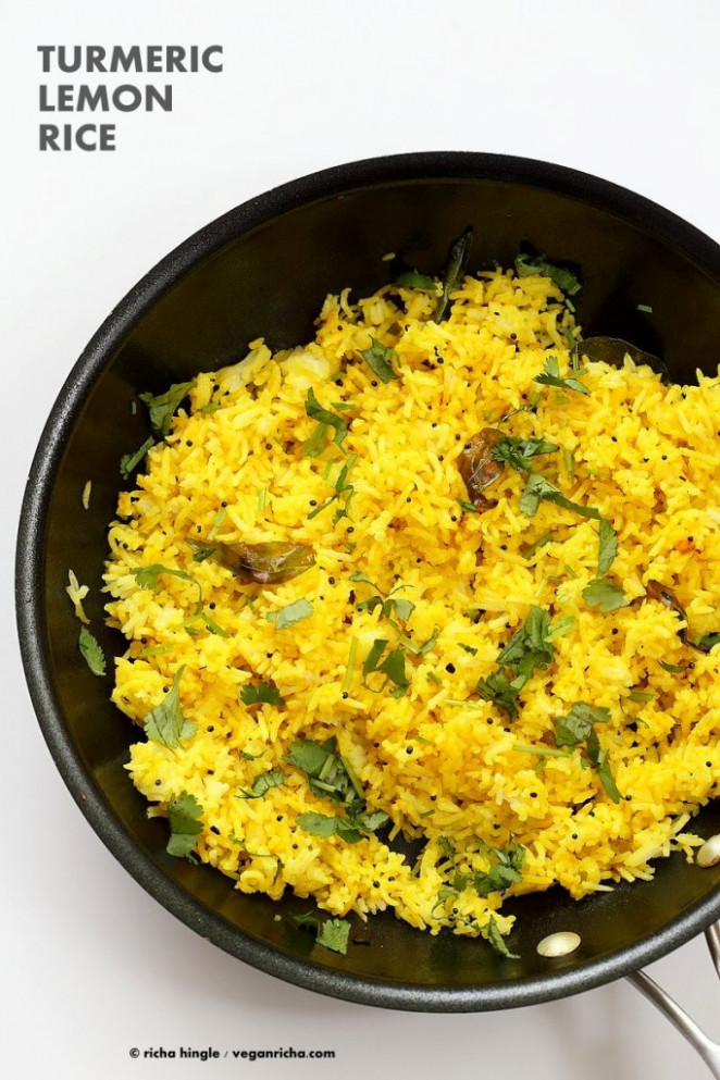 Turmeric Lemon Rice Recipe - Vegan Richa - recipes with rice vegetarian