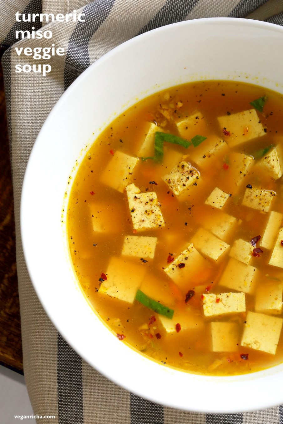 Turmeric Miso Soup With Ginger, Garlic and Tofu - recipes for vegetarian soup
