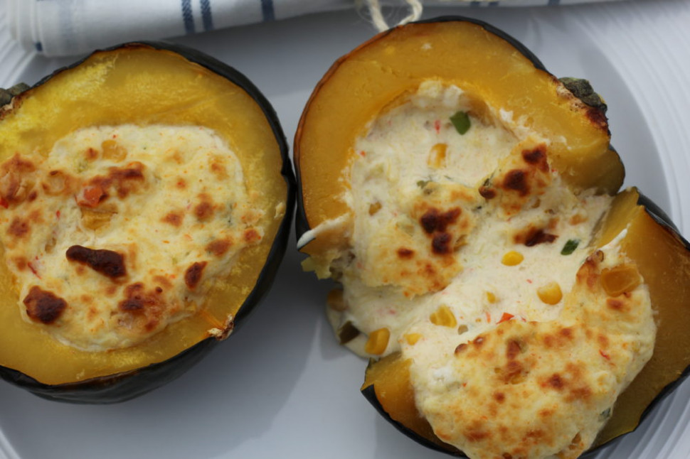 Twice Baked Acorn Squash Stuffed with Cheese and Corn • A ..