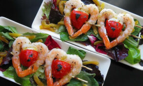 Twin Hearts Apricot Glazed Shrimp And Peppadew Salad ..