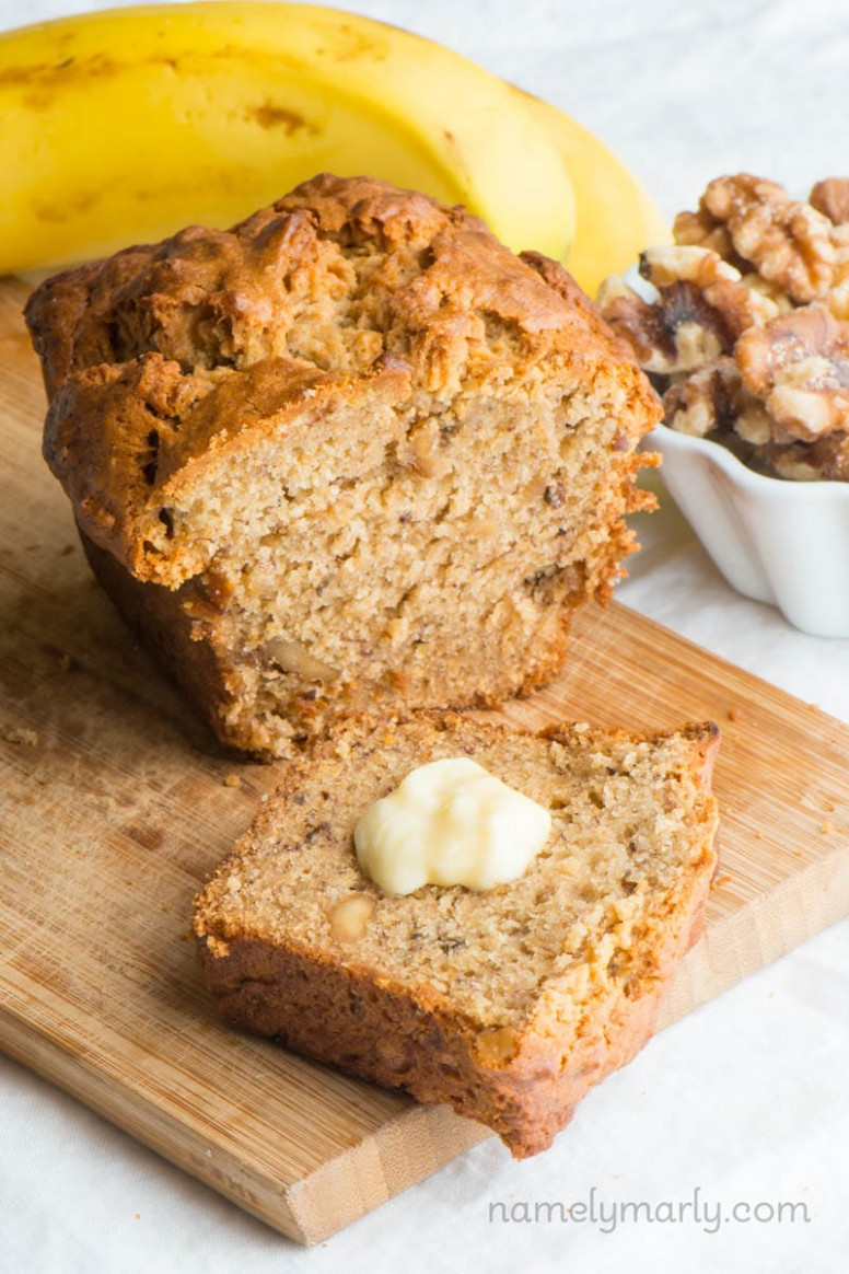Vegan Banana Bread - recipe vegetarian nut loaf