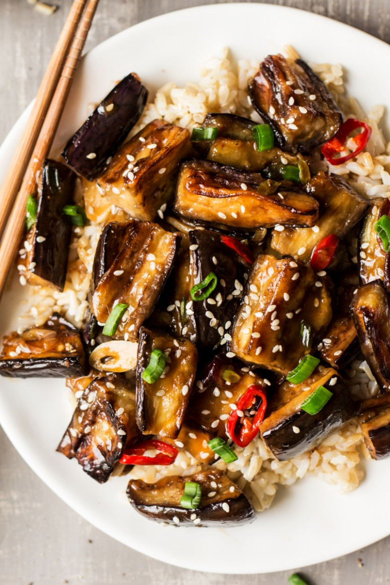 Vegan Chinese aubergine - Lazy Cat Kitchen - eggplant recipes vegetarian