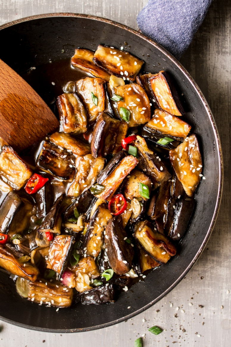 Vegan Chinese aubergine - Lazy Cat Kitchen - recipe vegetarian eggplant