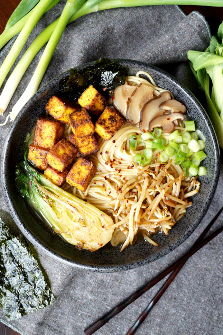 vegan crispy tofu ramen - ramen recipes vegetarian