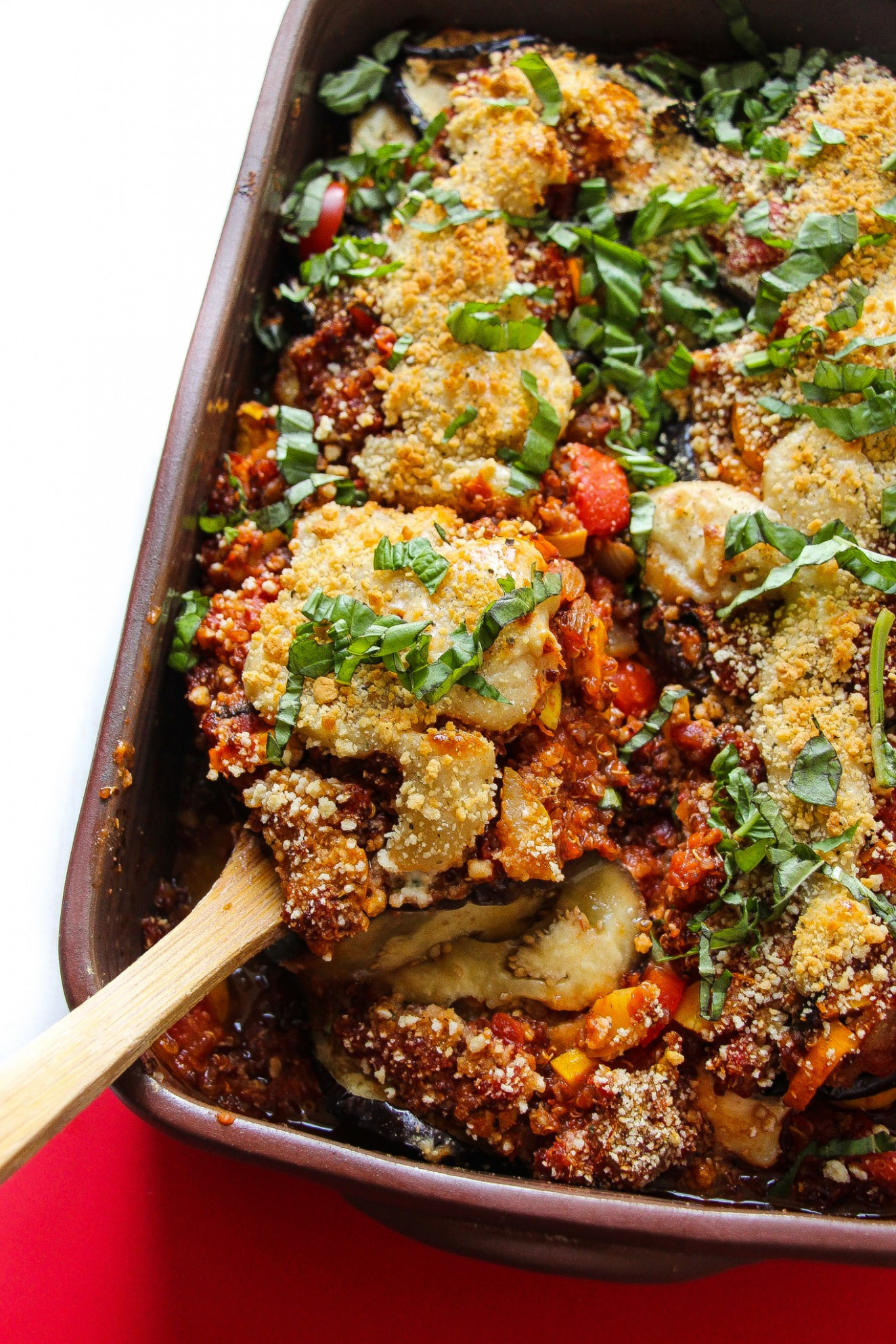 Vegan Eggplant Parmesan Bake - Layers of Happiness - pasta bake recipes vegetarian