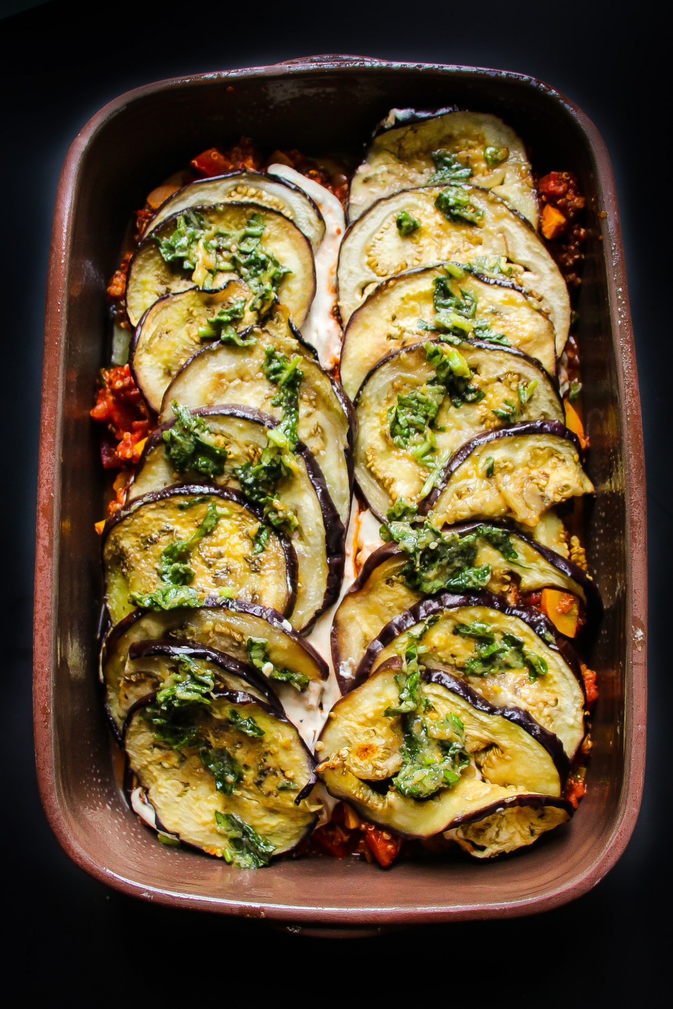 Vegan Eggplant Parmesan Bake - Layers of Happiness - recipe vegetarian eggplant