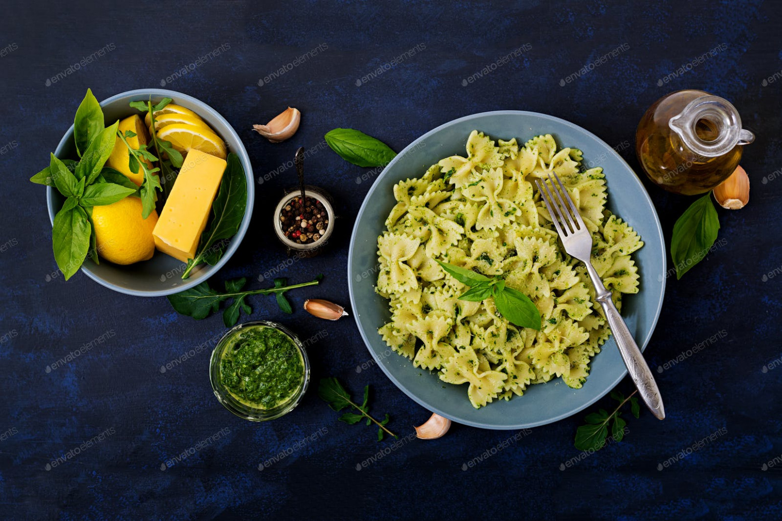 Vegan Farfalle pasta in a basil-spinach sauce with garlic ..