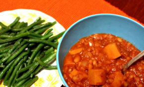 vegan franks & beans with haricots verts