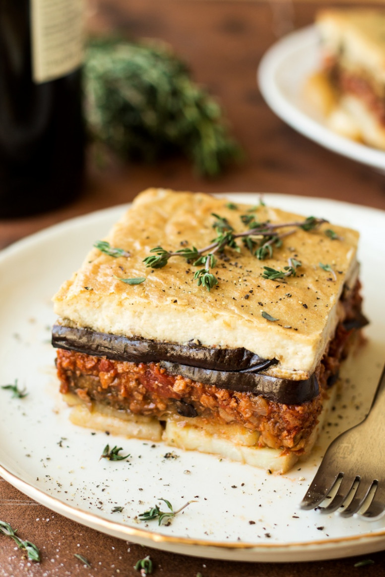 Vegan moussaka with creamy bechamel - Lazy Cat Kitchen - greek recipes vegetarian