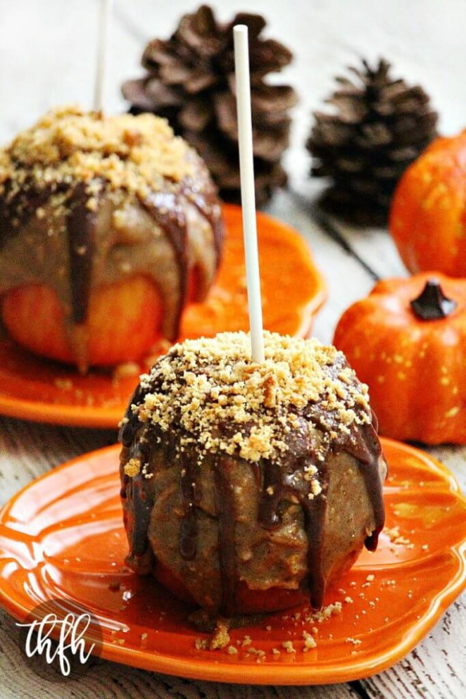 Vegan Peanut Butter Cookie Caramel Apples - Healthy Recipes Apples