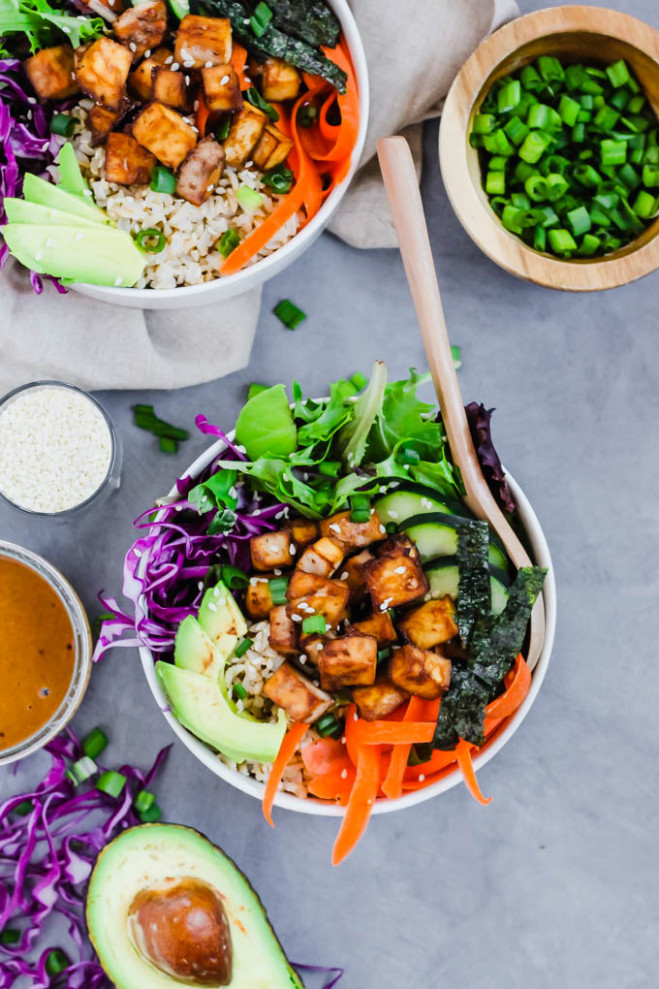 Vegan Poke Bowl (gluten Free) | Emilie Eats - Recipes Vegetarian Meal Prep