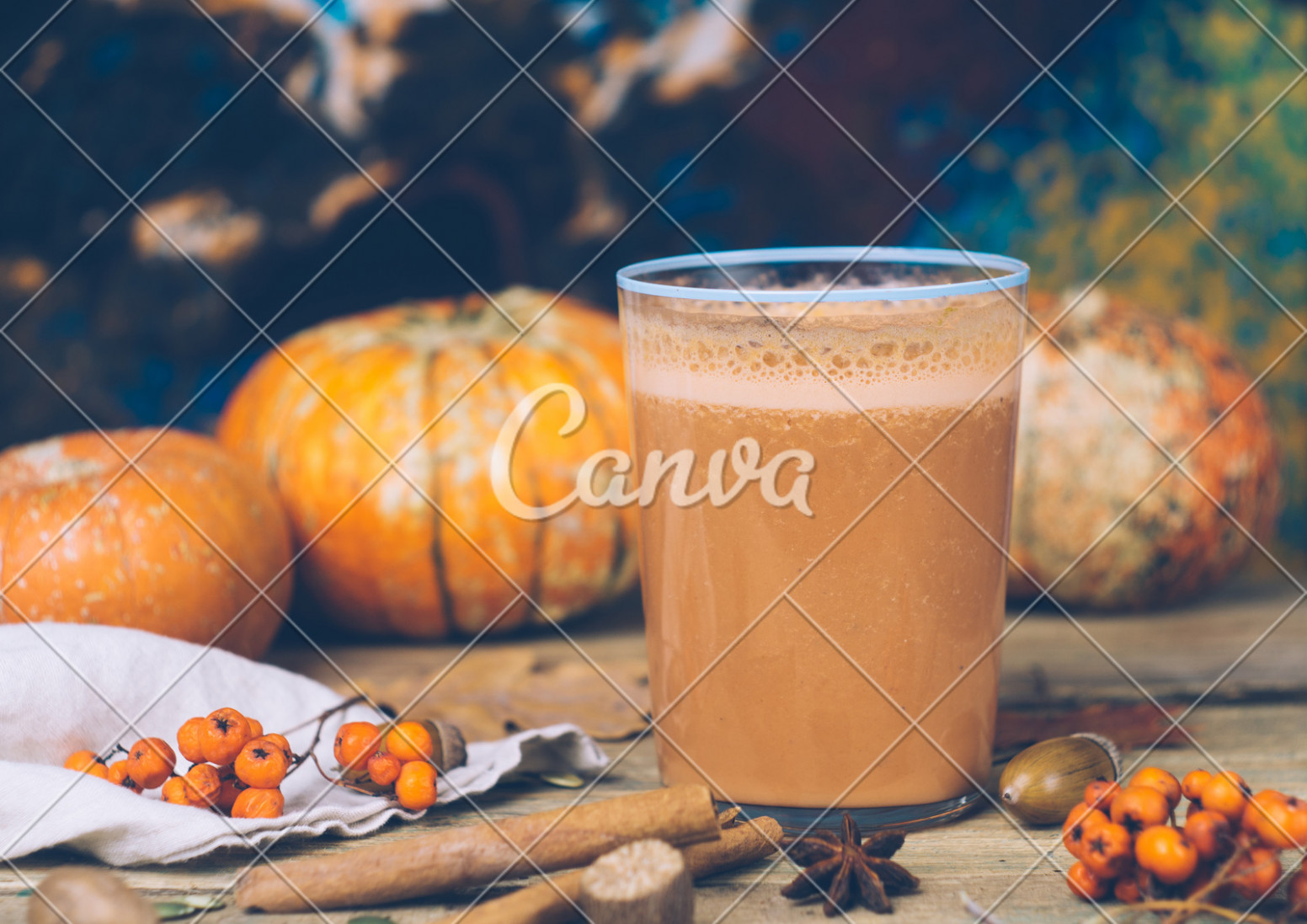 Vegan pumpkin pie smoothie with spices. Healthy fall ...