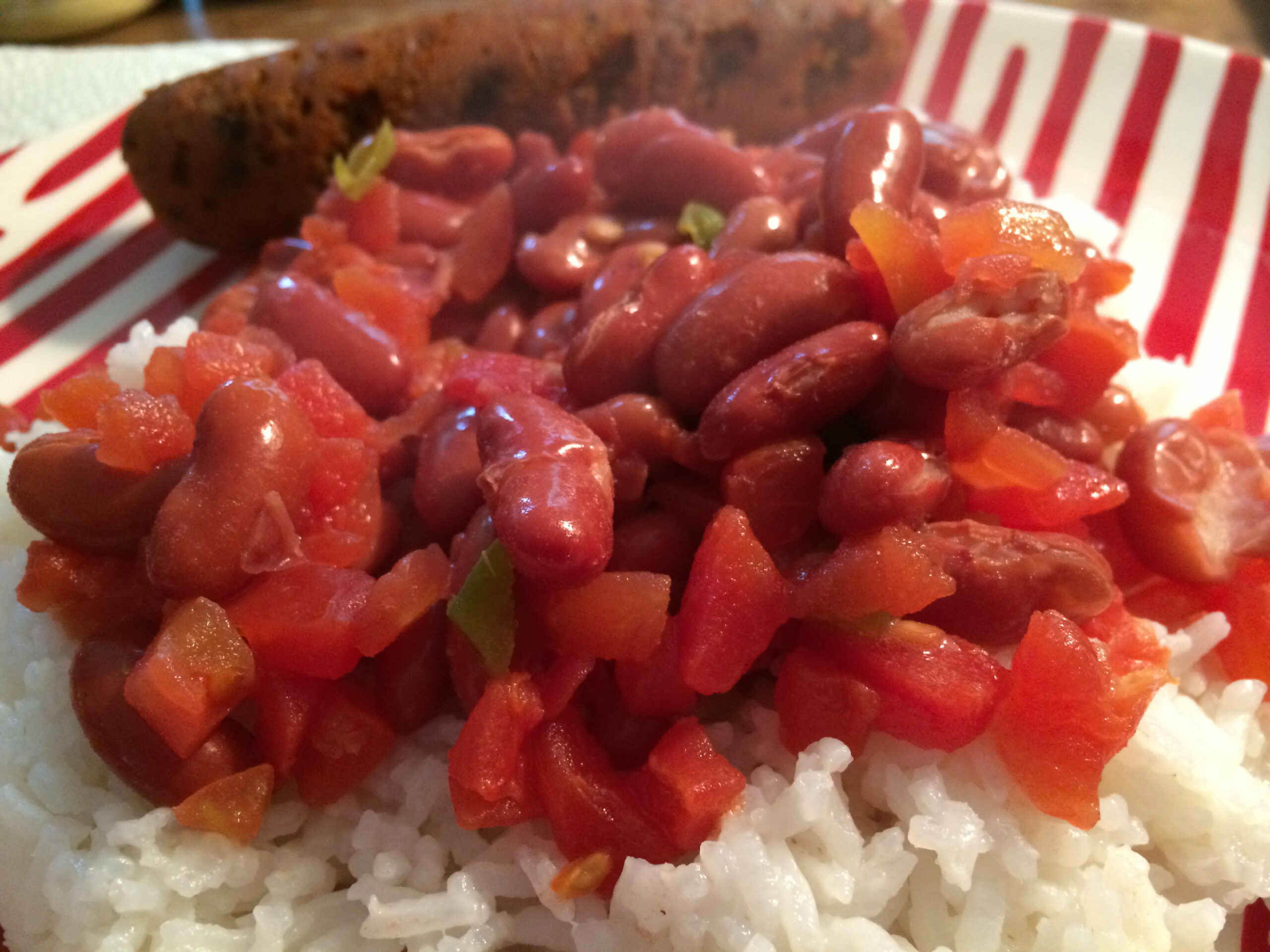 Vegan Red Beans And Rice With Grilled Chorizo