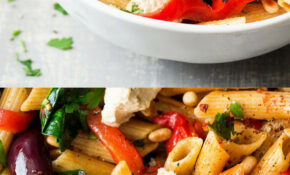 Vegan red pepper pasta