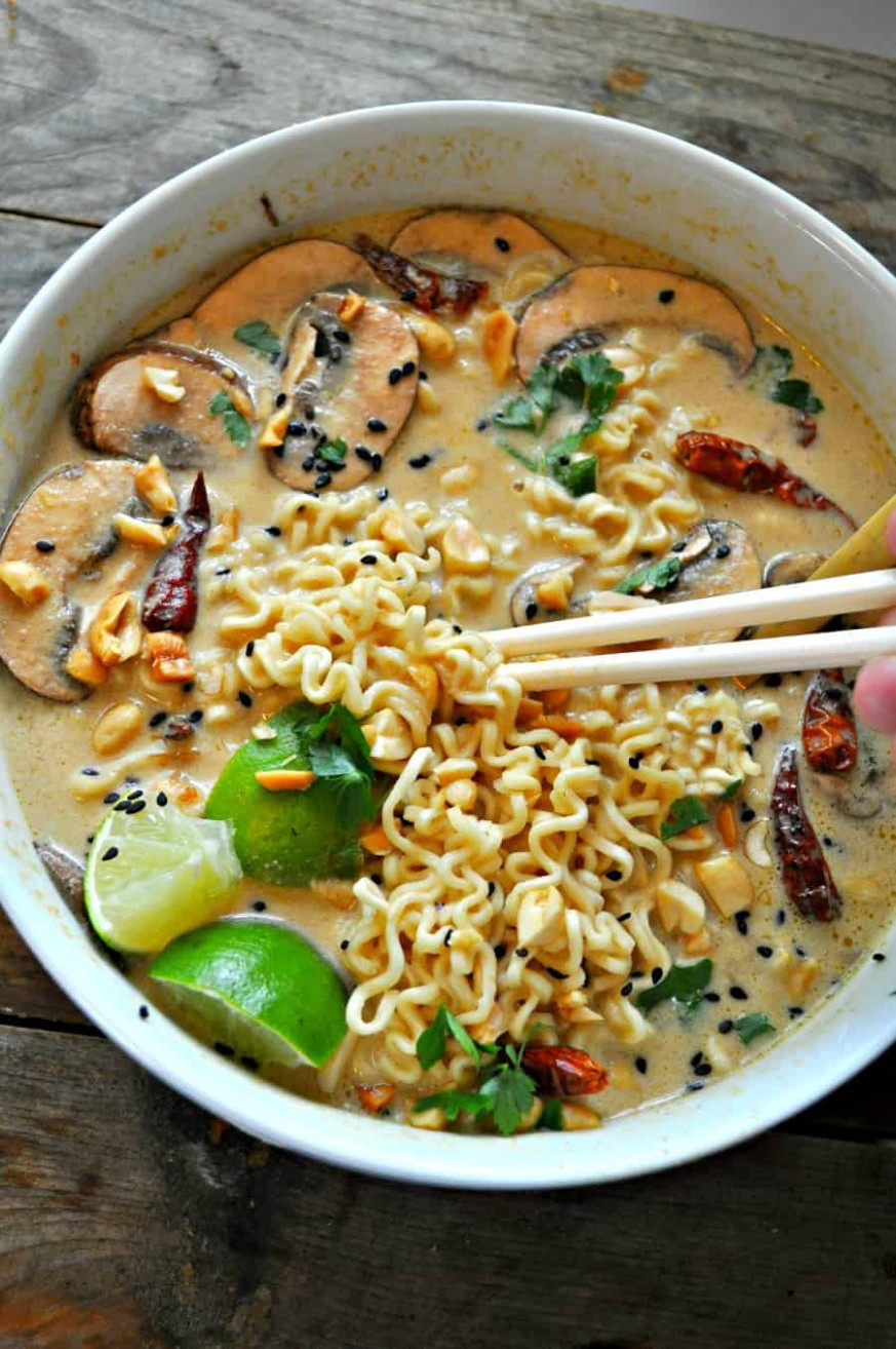 Vegan Spicy Thai Peanut Ramen - food recipes spicy