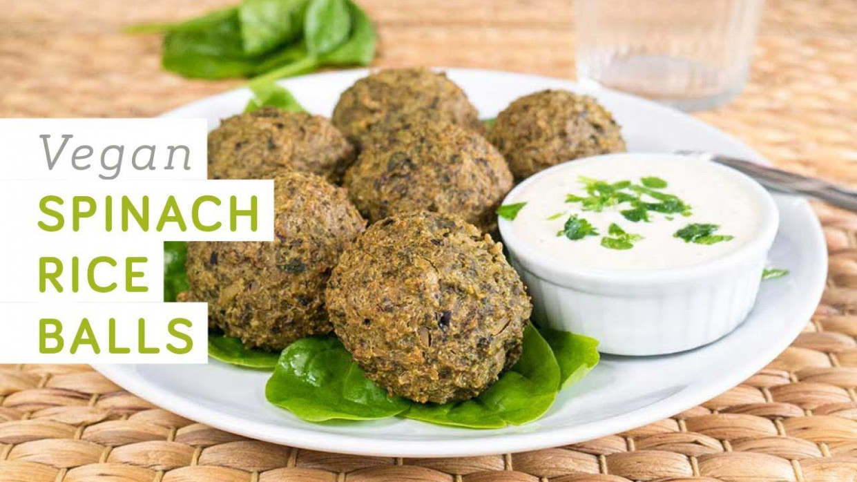 Vegan spinach rice balls - high in protein and iron - food recipes high in iron