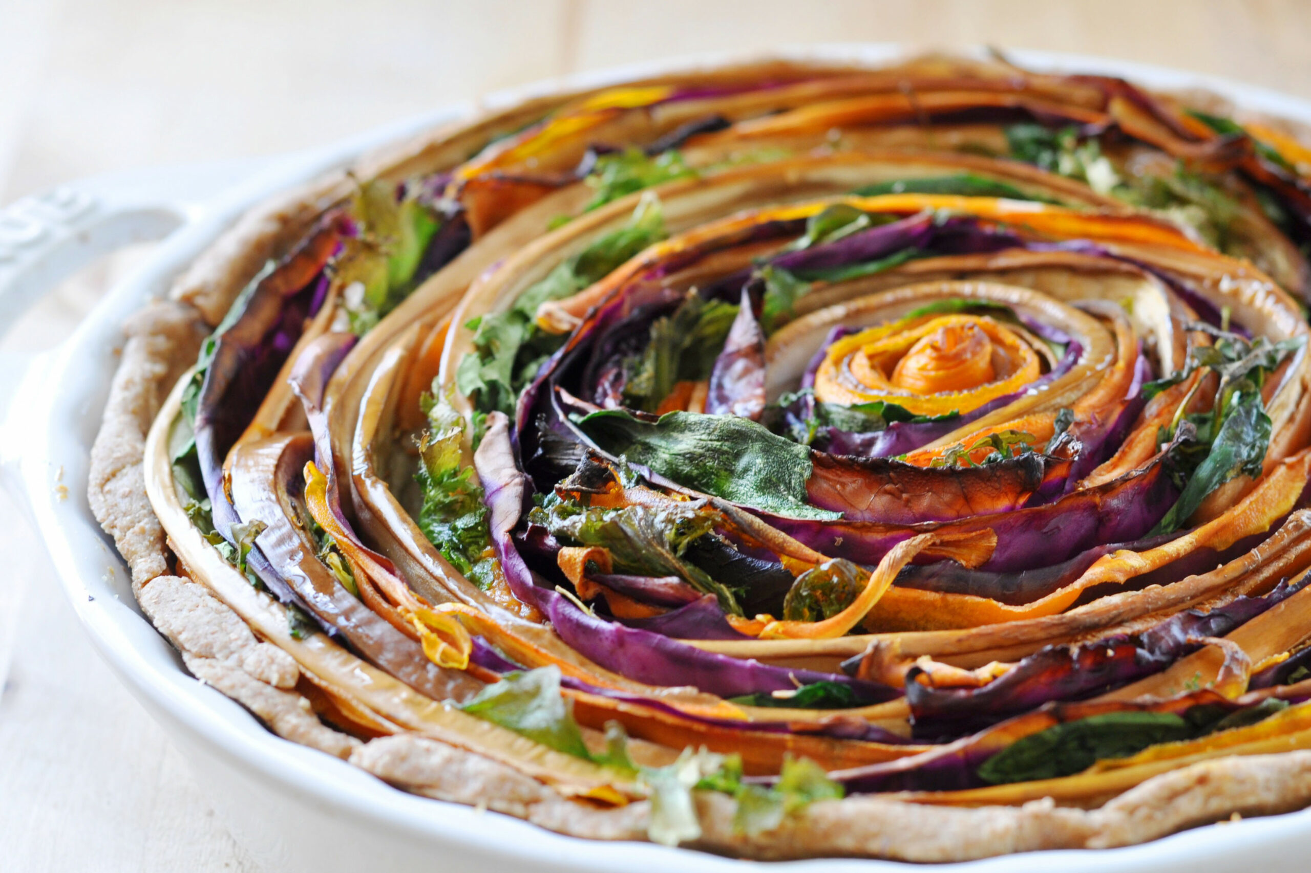 Vegan Spiral Vegetable Tart - recipes vegetarian tarts