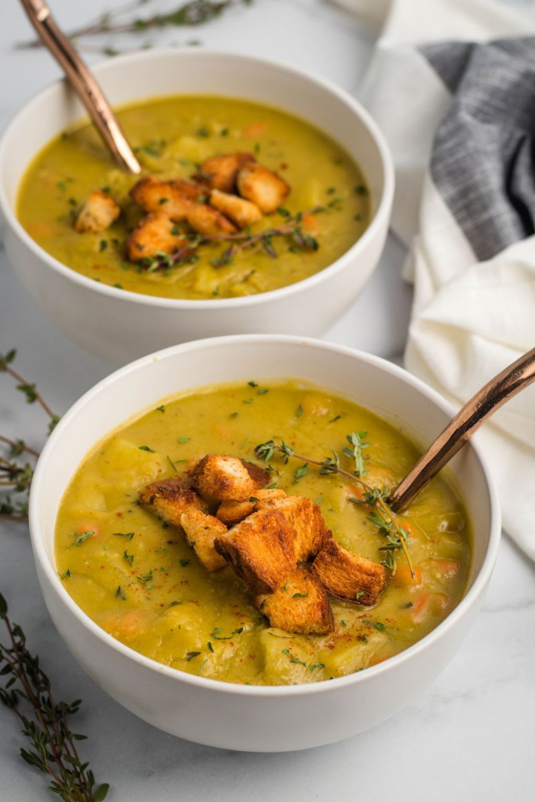 Vegan Split Pea Soup - recipe vegetarian yellow split pea soup