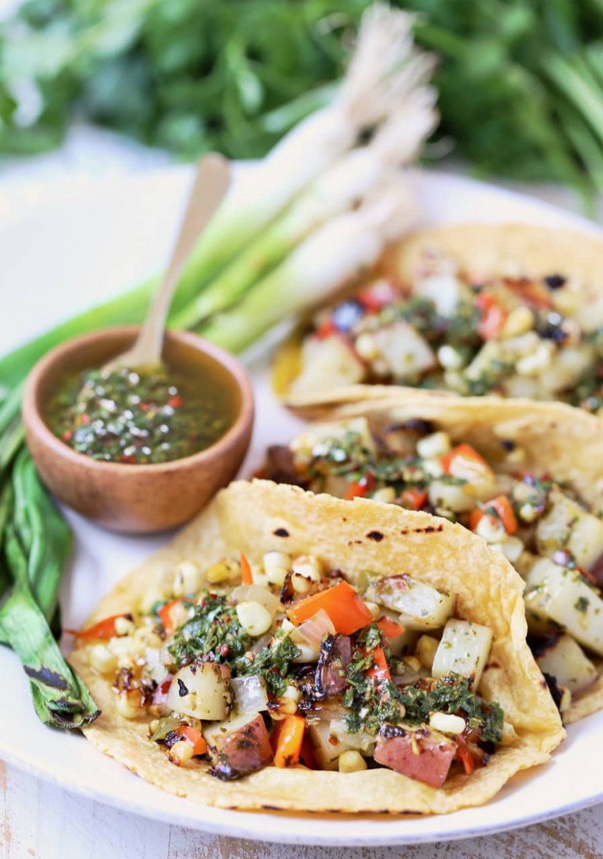 Vegan Tacos with Grilled Veggies and Chimichurri ..