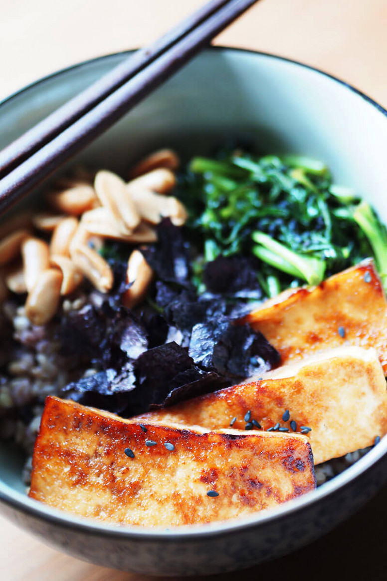 Vegan Teriyaki Tofu Rice Bowl - japanese recipes vegetarian