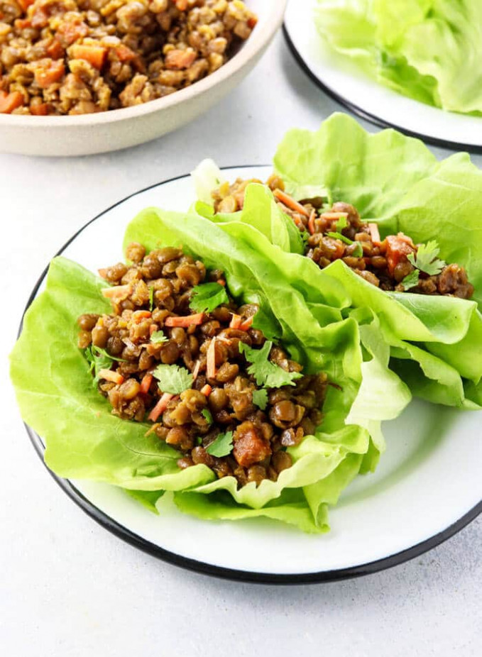 Vegan Thai Lettuce Cups with Green Split Peas - Half Cup Habit - green split pea recipes vegetarian