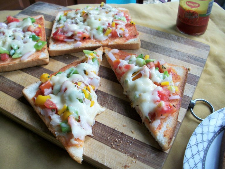 Vegetable Bread Pizza - Two Ways ( Oven & Stove -Top ..