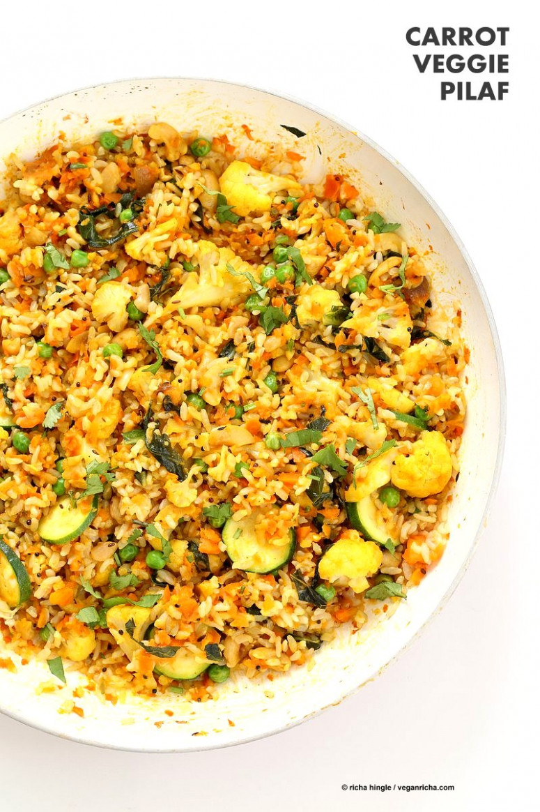 Vegetable Carrot Fried Rice - Carrot Pilaf - Vegetarian Recipes With Rice And Vegetables