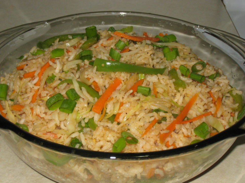 vegetable fried rice recipe, how to make vegetable fried ..