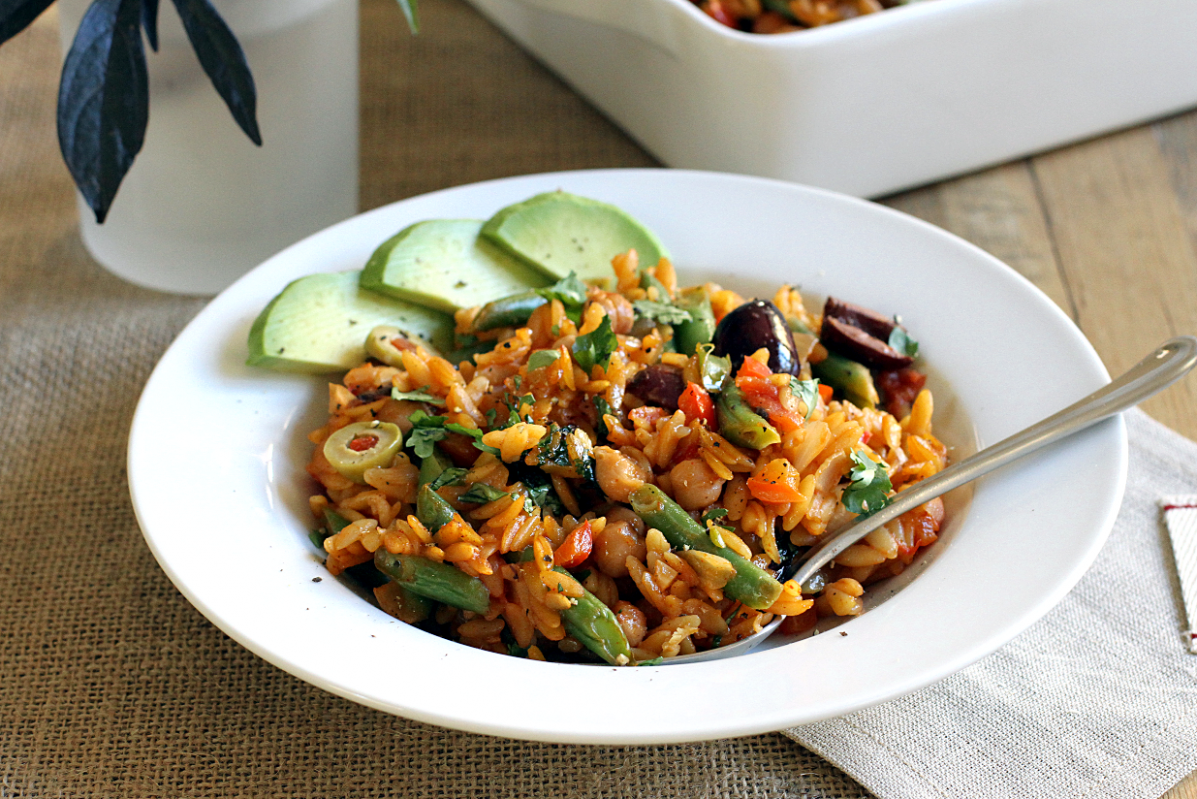 Vegetable Orzo Paella - Two Of A Kind - Orzo Recipes Vegetarian