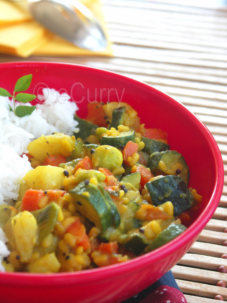 Vegetables & Lentils with Ground Spices - healthy yellow squash recipes