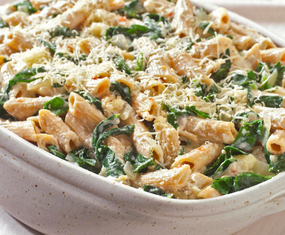 Vegetarian Baked Pasta With Cheese and Spinach Recipe - recipes for vegetarian pasta