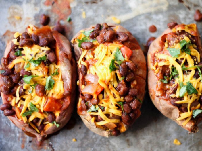 Vegetarian Black Bean Chili-Stuffed Sweet Potatoes - sweet potato recipes vegetarian