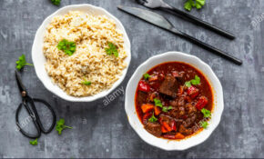 Vegetarian Goulash With Jackfruit And Rice Stock Photo ..