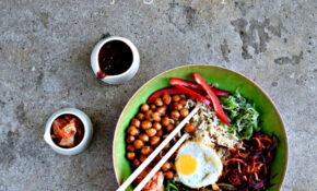 Vegetarian Korean Bibimbap With Gochujang Chickpeas – Rice Bowl Recipes Vegetarian