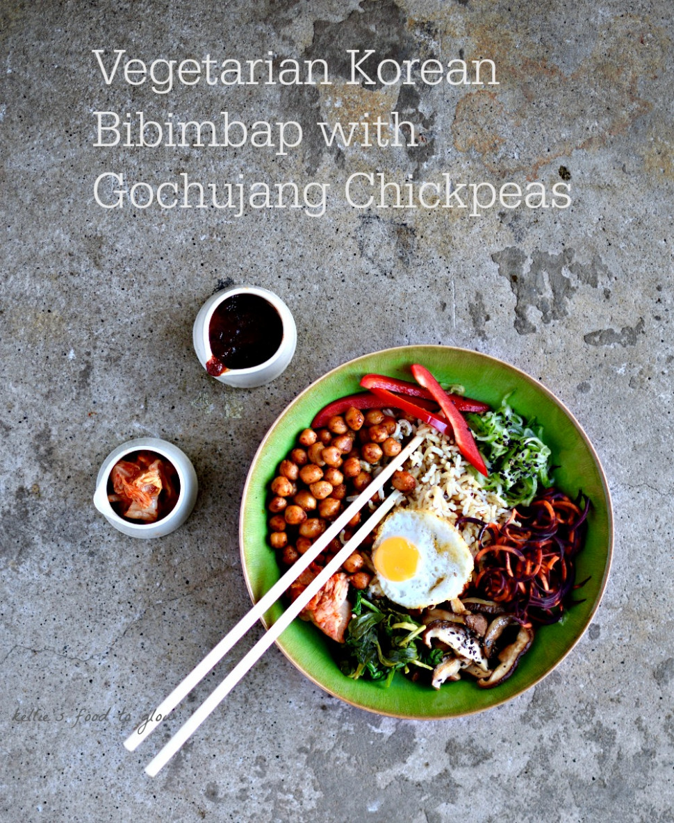 Vegetarian Korean Bibimbap With Gochujang Chickpeas - Rice Bowl Recipes Vegetarian