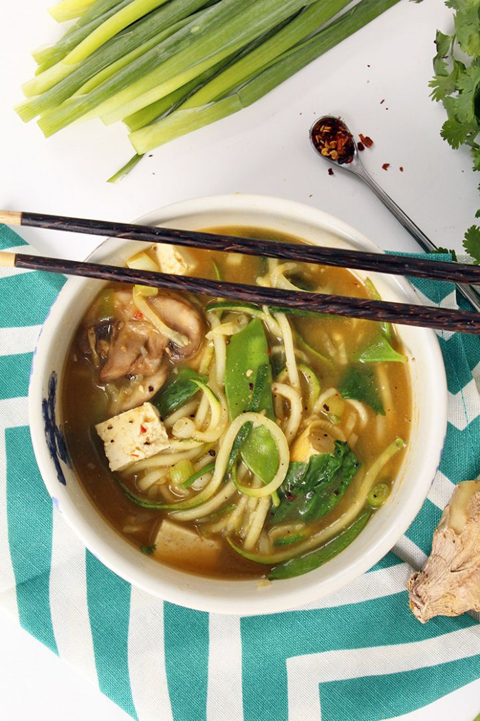 Vegetarian Lemongrass Green Coconut Curry Soup with ..