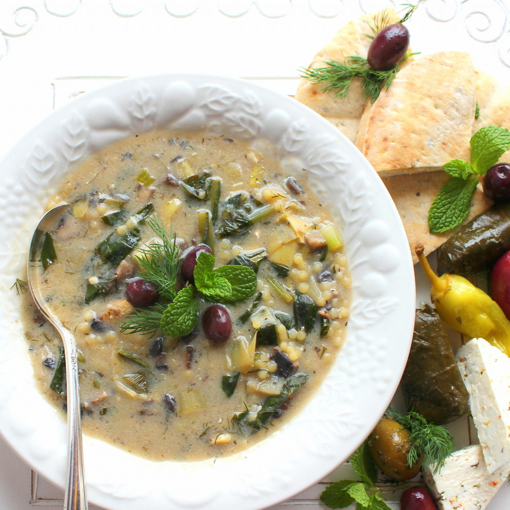Vegetarian Magiritsa (Greek Easter Soup) For #SundaySupper - Greek Vegetarian Recipes