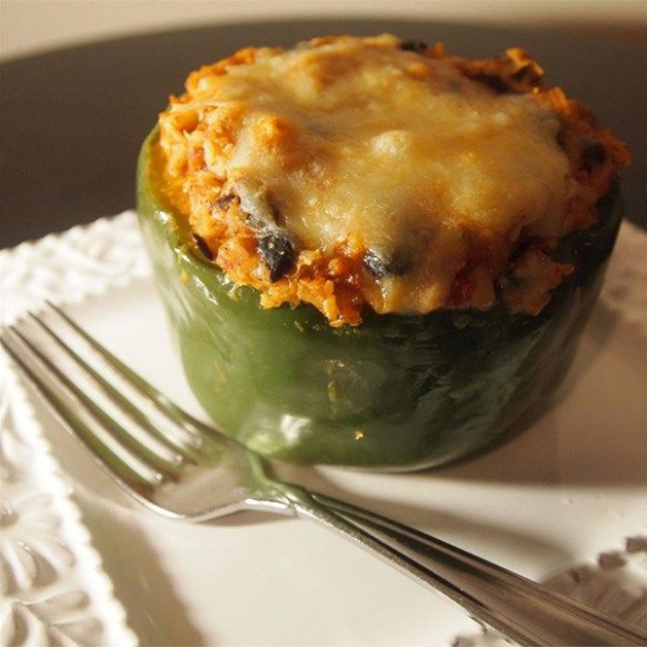 """Vegetarian Mexican Inspired Stuffed Peppers 