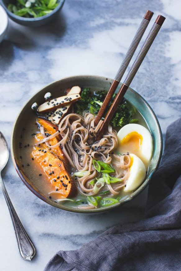 vegetarian miso ramen with rice noodles, roasted sweet ..