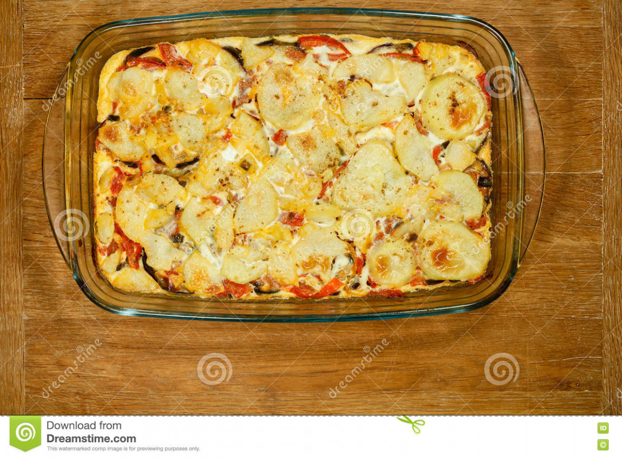 Vegetarian Moussaka. Traditional Greek Dishes. Stock Image ..